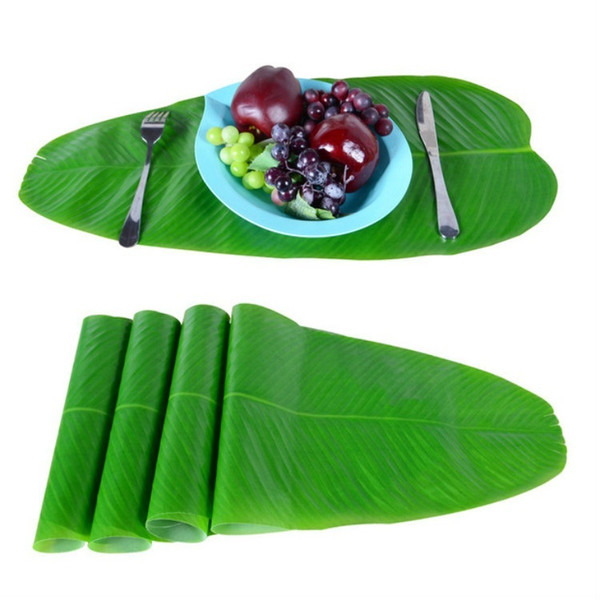 4-Packed Fabric Banana leaf table flag simulation plant flags party supplies coaster wall decoration green leaves imitation plants