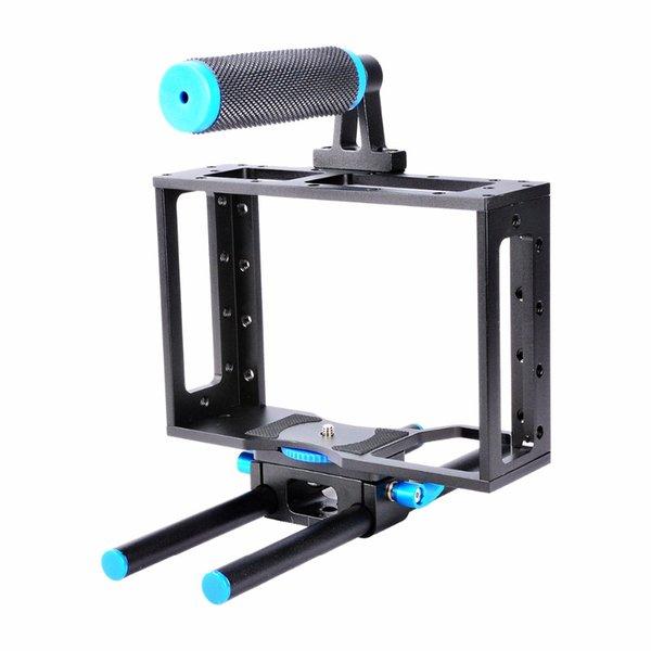 Großhandel C1 Aluminiumlegierung Kamera Käfig Kleine Rig für DSLR Mirorless System Kameras mit Standard 1/4 Schraube Löcher 15 mm Schiene Rod