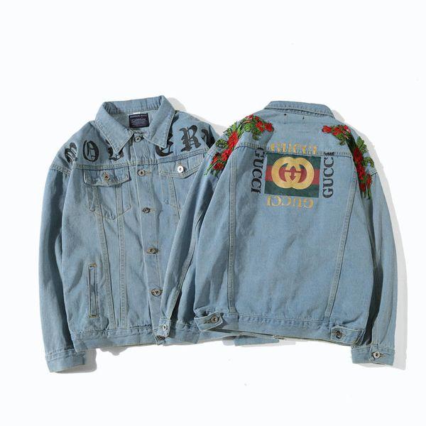 Denim Jacket para Homens Luxuy Designer de Marca Jaqueta Moda Padrão de Impressão Jean Casaco Tripulação Pescoço Mens Roupas 2018 Moda Maré de Alta Qualidade