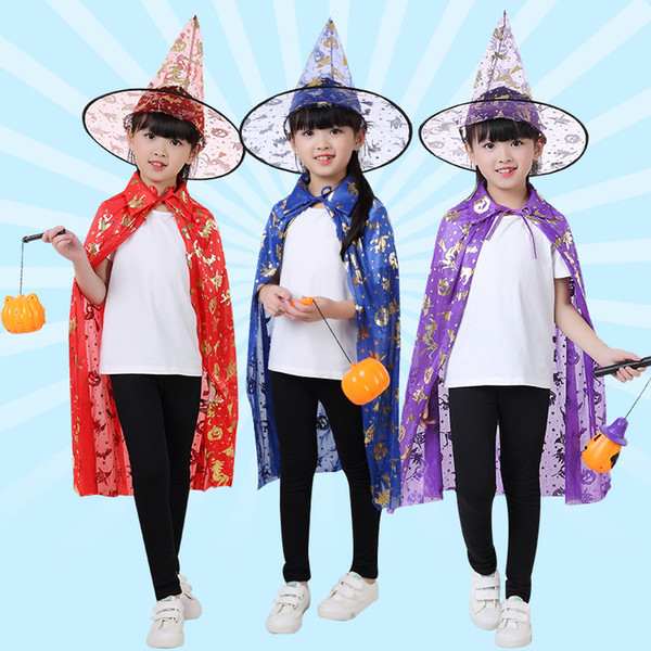 Halloween children's cloak and hat suits festival dressingup party child clothes Witch Wizard Cape Cloak Hat