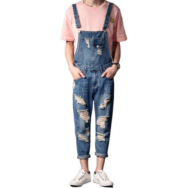 MORUANCLE Men Fashion Distressed Jeans Jumpsuits Ripped Denim Bib Overalls Destroyed Suspender Pants For Man Plus Size S-5XL
