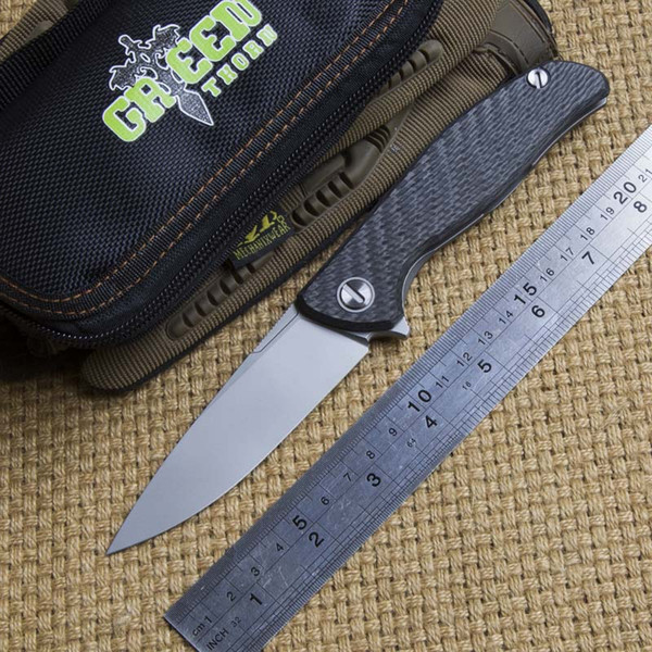 Green thorn hati 95 tactics Flipper folding knife D2 blade ball bearing carbon fibre camping hunting outdoor fruit Knives EDC tools