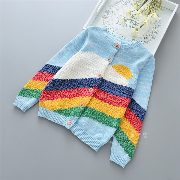 kids girls sweaters rainbow childrens cardigan knitted outwear 100-110-120-130-140 5pcs/lot new design 2018spring autumn