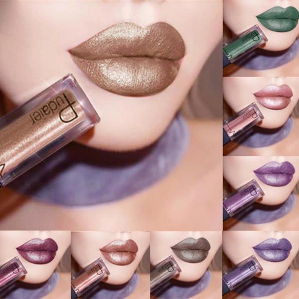 Fashion Women Metallic Lipstick Lips Makeup Long Lasting Pigment Nude Gold Nude Liquid Veet Metal Lipgloss Gift