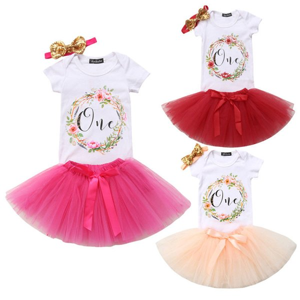 3Pcs Baby Birthday Clothing Newborn Baby Girl Clothes Floral Short Sleeve Bodysuit Tops Lace Tulle Tutu Skirt Headband Outfits