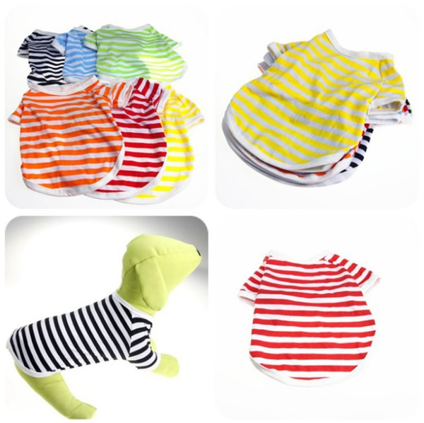 Striped Dog Shirt O Neck Small Dog T Shirts Summer Puppy Clothes Classic Pet Outfits Dog Apparel 6 Colors 50PCS YW990
