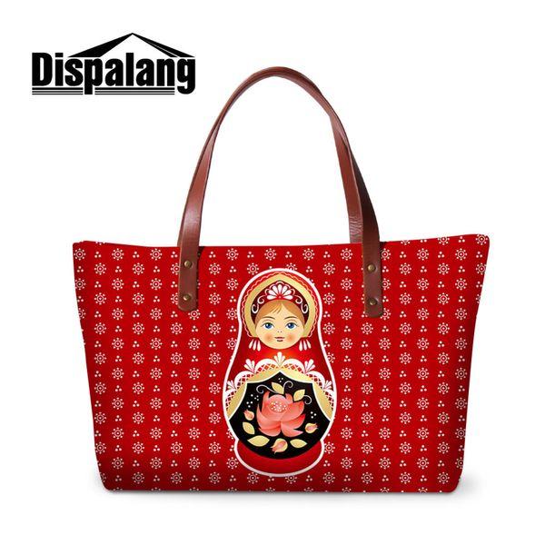 Russian Doll Print Shoulder Handbag Women Large Summer Tote Hand Bag Cute School Messenger Bag for Girls Quality Beach
