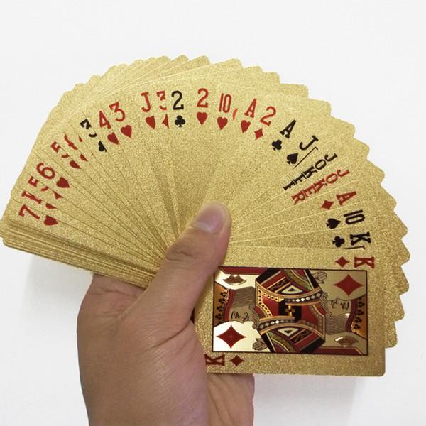 24 K Altın Iskambil Kartları Poker Oyunu Güverte Altın Folyo Poker Seti Plastik Sihirli Kart Su Geçirmez Kartları Sihirli NY086