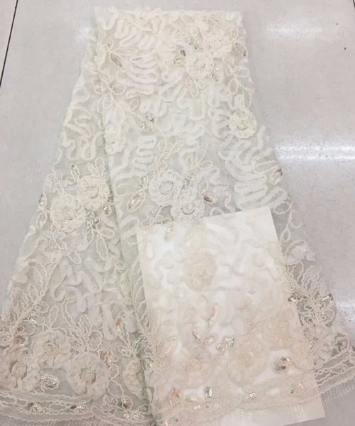 2018 Latest African Lace Fabric cream 3d Net Lace Fabric For Wedding Party Dresses 5 yard/lot Guipure Lace Trim RF190b