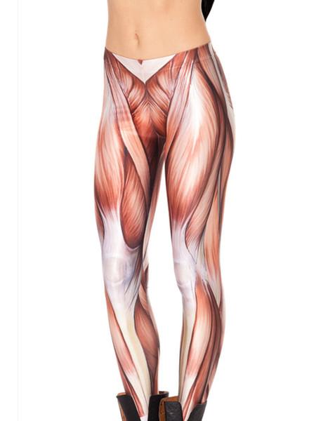 Hot Sales 10 Patterns 3D Women Exercise Muscle Elastic Pants Big Size Red Green Skeleton Sport Black Leggings