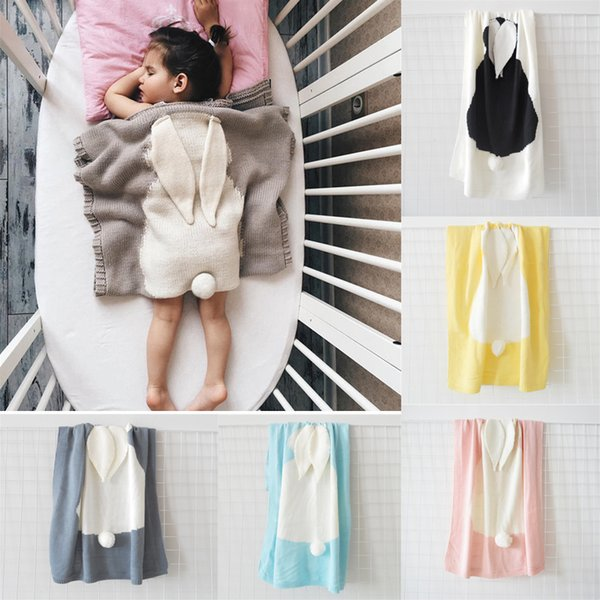 Lovely 5 Colors 73*108cm Baby Blankets INS Rabbit Ear Swaddling Knitted Animal Bedding Toddler Fashion Swaddle Newborn Bunny Blanket 20pcs