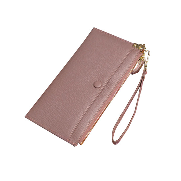 Fashion Women Clutch Wallet Genuine Leather Large Capacity Women Purse Zipper Pouch Multifunction Cards Phone Wristlet Bag