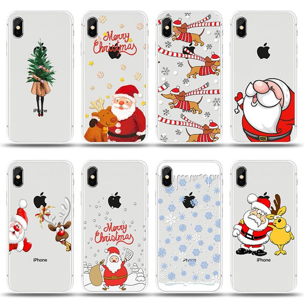 Cell Phone Cases Cartoon Christmas Tree Santa Claus TPU Clear Mobile Protect Cover Transparent Cellphone Soft Shell for 78X