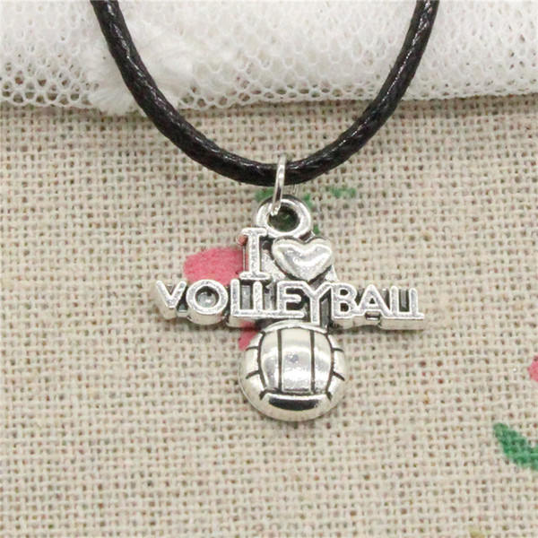 Creative Fashion Antique Silver Pendant i love volleyball 21*20mm Necklace Choker Charm Black Leather Cord Handmade Jewlery