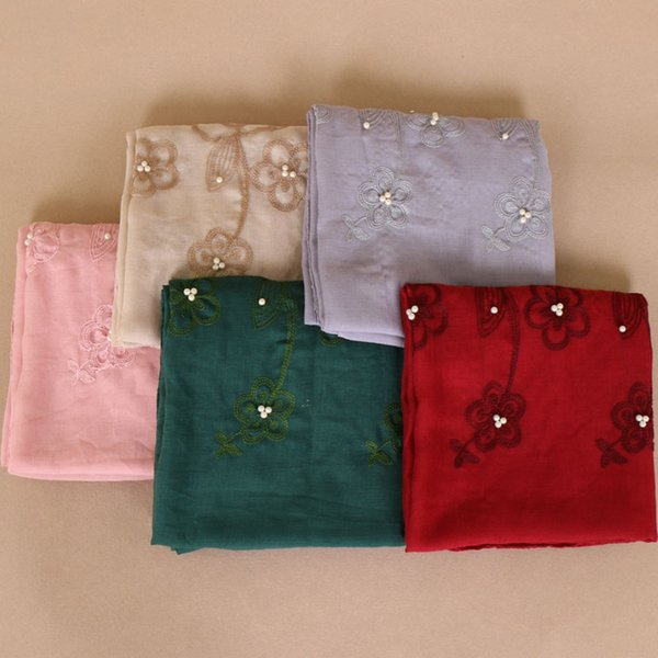 Printemps broder des perles florales coton foulards vente chaude écharpe 2018 femmes musulman hijab châles perle / écharpe 10 couleur 180 * 85 cm