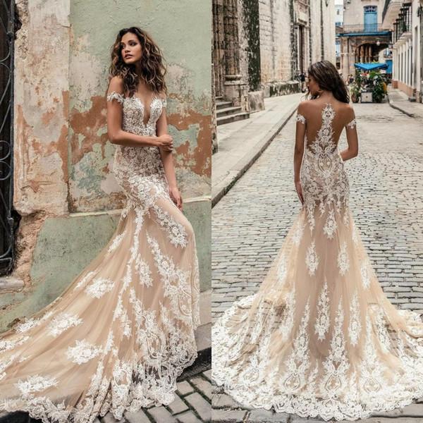 Champagne Julie Vino Style Wedding Dresses 2019 Deep Plunging Sheer Neckline Bridal Gowns Sweep Train Lace Mermaid Wedding Dress Custom Made