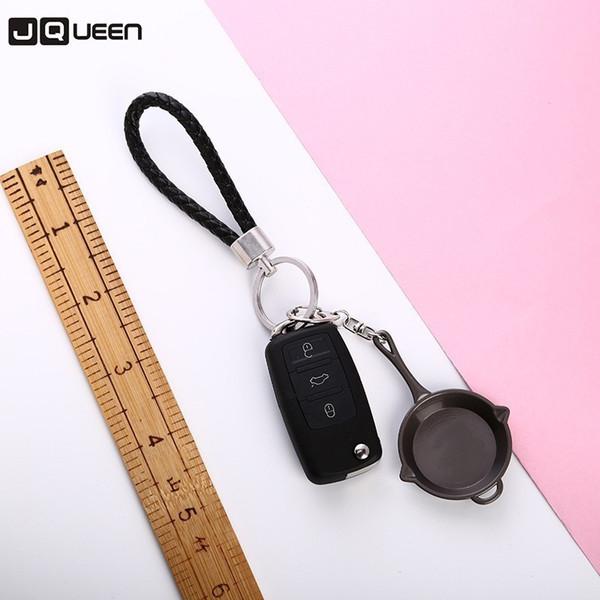 2018 Trendy Men's Punk Black Pan Keychain Fashion Car Bag Key Chain Pot Pendant Ring Keychain Jewelry Gift Factory Wholesale