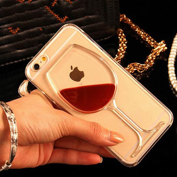 Cas de téléphone en verre transparent liquide de vin rouge pour iPhone X 5 5S SE 6 6S 7 8 8 Plus 7Plus caisse de bouteille de vin