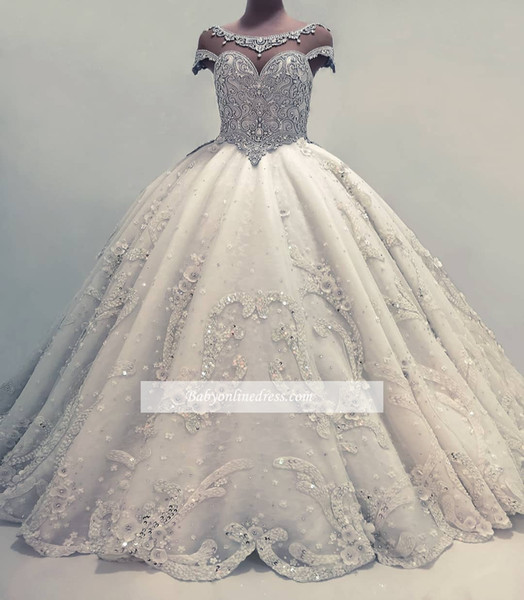 Sparkly cry tal beaded ball gown wedding dre e heer coop neck hort leeve applique long wedding gown plu ize