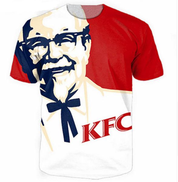 Новые моды мужские/женские хип-хоп KFC Полковник Сандерс лето стиль смешные 3D печати повседневная футболка топы плюс размер ZGX077