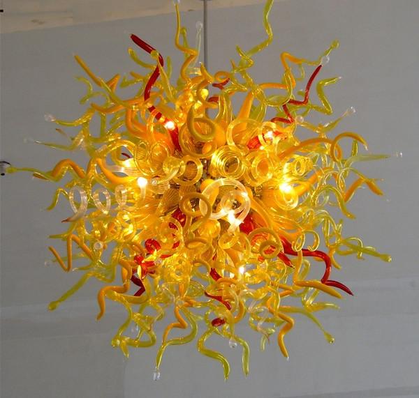 100% Feito À Mão Soprado Lustre De Vidro Vermelho e Amarelo Cor de Arte Moderna de Vidro Teto Decorativo LED Fonte de Luz Lustre de Fantasia