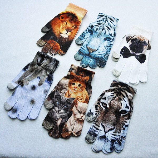 12color Kids 3D Printed knitted gloves Spring Warm Children Boys Girls Cute Animal Vivid Face cartoon Touch Screen Gloves TC181031WL