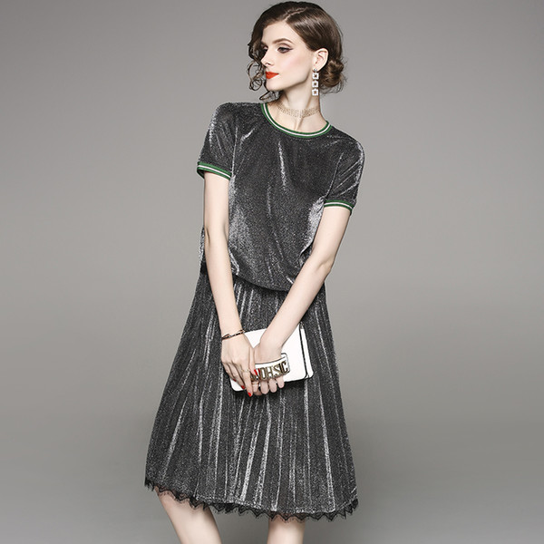 spring summer woman clothing set green border collar cuff gray silver t-shirt + knee length pleated skirt shiny silver suit set