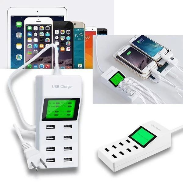 Universal 8 Port USB Charger LED Display Screen AC Socket USB Wall Charger for iPhone Samsung for iPad tablet PC Smart phone