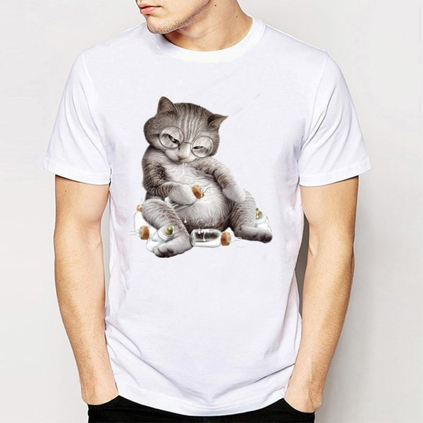 2017 New summer fashion men's short sleeve Drunk cat T-Shirt cute animal cartoon Shirts casual male Tops Harajuku hipster Tees