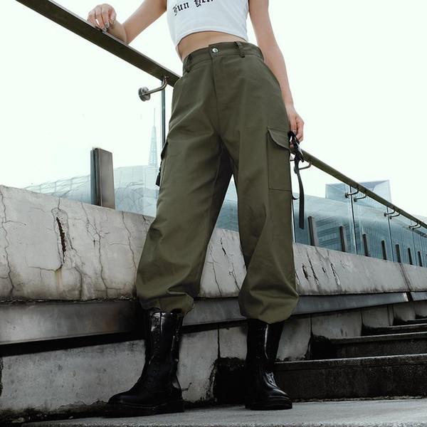 High Waist Cargo Pants Women's Streetwear Loose Pockets Elastic Waist Pencil Pants Fashion 95% Cotton Trousers Women