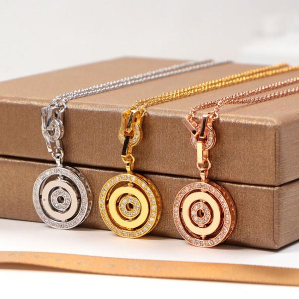 2018 nuovo design CZ disco diamantato pendente COLLANA 3 colori in acciaio inox collane a catena in oro per le donne gioielli famosi all'ingrosso