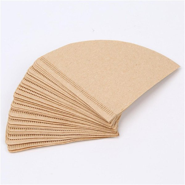 40PCS/Lot Coffee Filter Papers Unbleached Original Wooden Drip Paper Cone Shape Coffee Tools