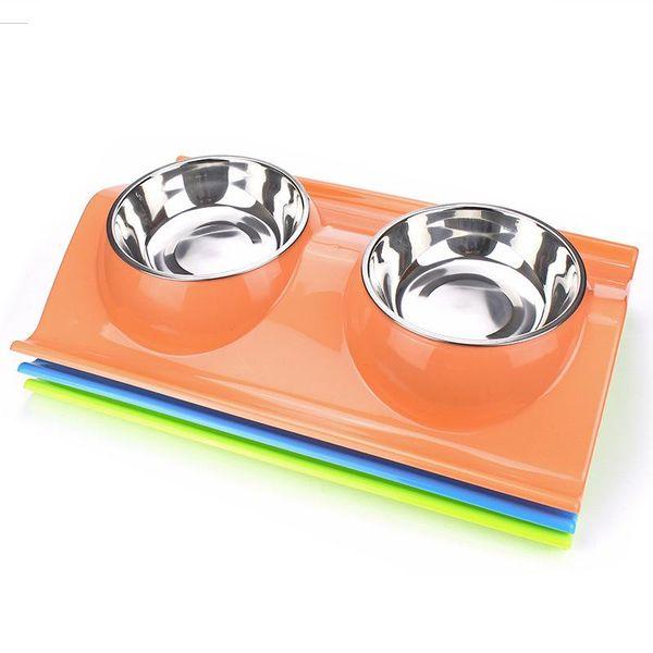W Type Stainless Steel Dog Bowl Multi Funcation Pet Supplies Leakproof Food Pocket Portable Cat Feeders Pink 12dg ff