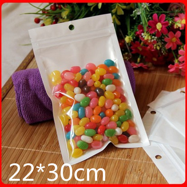 100pcs 22*30cm White Zip Lock Packaging Bag Reclosable Plastic Poly Clear Zipper Package Bags Resealable Hang Hole Pocket New