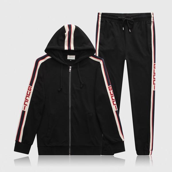 Survêtement Hommes Lettre M-3XL Designer Lettre De Luxe Costumes Décontractés Hoodies + Pantalons Printemps Automne Zipper Kits Sports Survêtement Survêtement Noir Gris