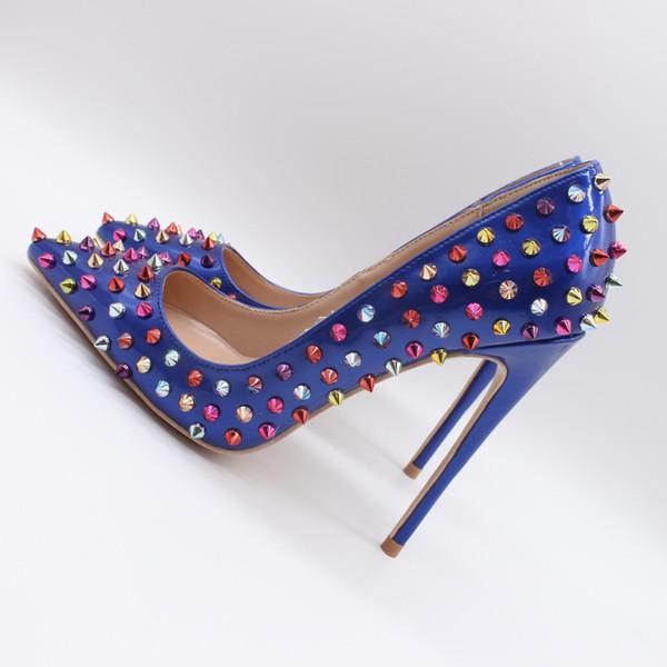 Foto reali Moda Donna Royal Blue borchie in pelle con borchie rivetti punta a punta Sexy Tacchi alti Scarpe Pompe tacchi a spillo 10 cm