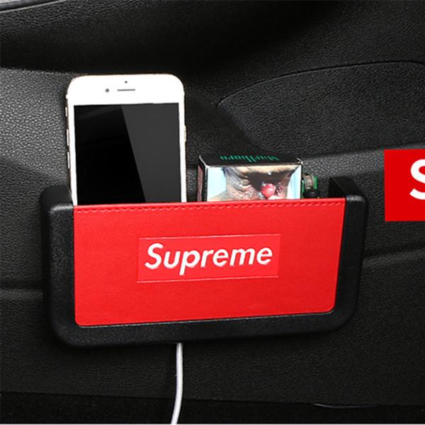 Fibra de carbono Estilo Caja de almacenamiento del coche Soporte para teléfono Material de PVC blando Organizador para el coche Bolsa Titulares de la tarjeta Titular de la moneda Estiba en orden