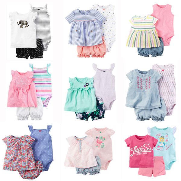 Newborn Baby Rompers Suits 100% Cotton 22 Designs Colorful Striped Embroidery Flora Cartoon Dots T-Shirt+Triangle Romper+Shorts 3 pcs/lot