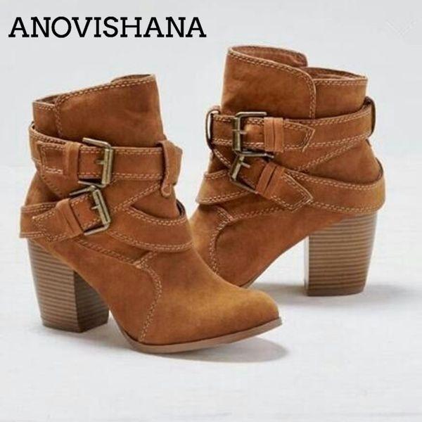 ANOVISHANA Women westrern boots female anle boots for women auntumn Winter short booties cowboy botas mujer H201