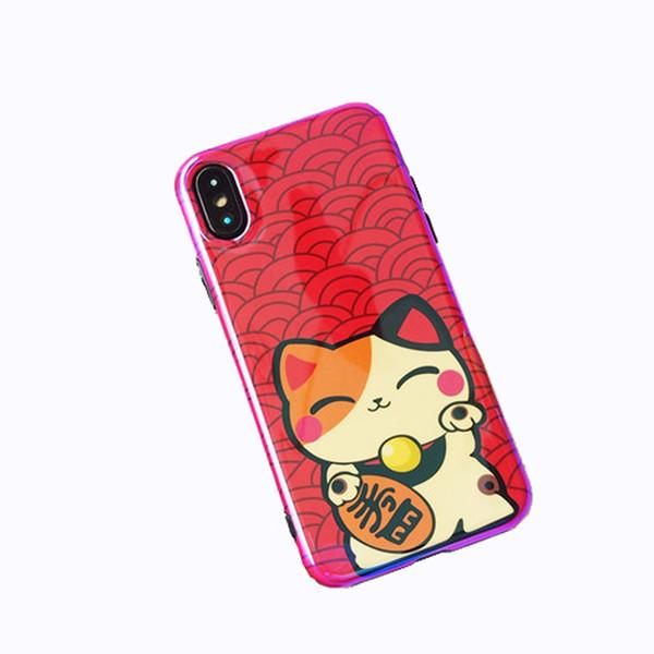 Para o iphone x phone case, gatinho bonito dos desenhos animados kawaii sorte fortuna cat borla suave silicone rubber case capa (vermelho kitty)