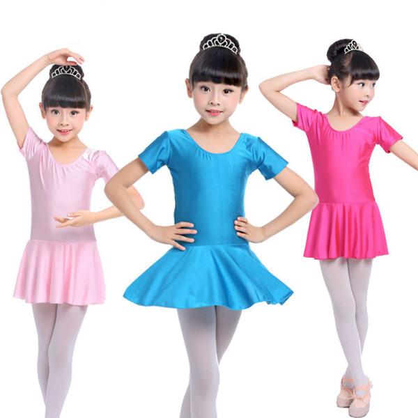 body ginnastica per ragazze manica corta balletto bambini lycra bambini abiti per bambini tutu gonne costumi di danza lirica dancewear