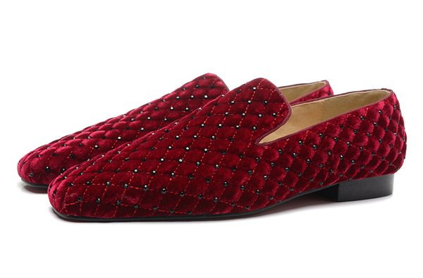 Men's Wine Red Plaid Flock With Rhinestone Square Toe Red Bottom Loafers, Gentleman Luxury Design Wedding Party Dress Shoes Size 39-47