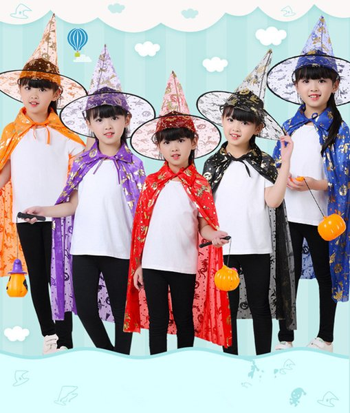 Halloween Children Cape and Hat Kids Clothes Witch Cape Wizard Cape Cloak Hat Halloween Performance Clothes