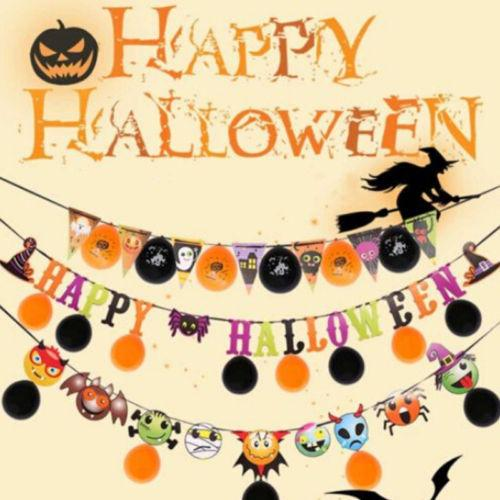 Hot Halloween Props Garland Pumpkin Flag Hanging Ghost Decor Party With Balloon Banner