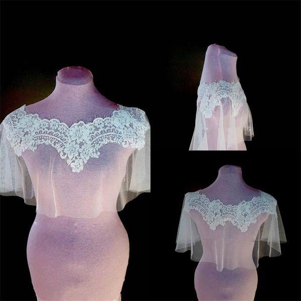 White Ivory Wedding Bridal Wrap Jacket Crew Custom Made Lace Tassel Sheer Tulle Wrap for Bride Cheap