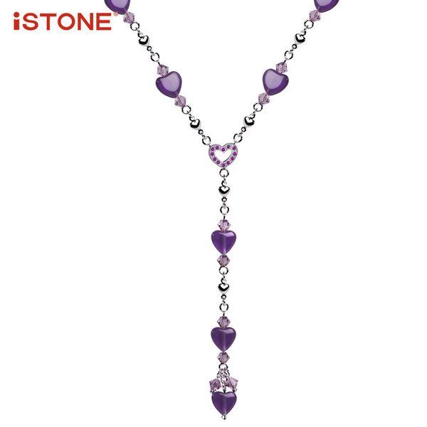 ISSTONE Amethyst Herz zu Herz Form Anhänger Halsketten mit feinen Stahl Halskette 16 Zoll natürlichen Edelstein edlen Schmuck für Frauen Y1892806