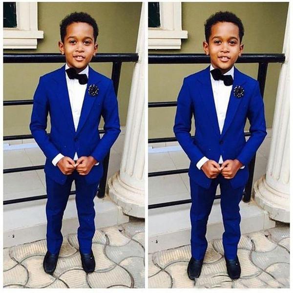 Königsblau Kinder Formelle Kleidung Hochzeit Bräutigam Smoking Blume Jungen Kinder Party Anzüge Zwei Stücke (Jacke + Pants)