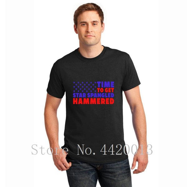 personalized tee shirt Euro Size S-3xl star spangled hammered july 4th drinking beer gift slim cool HipHop Top men tshirt
