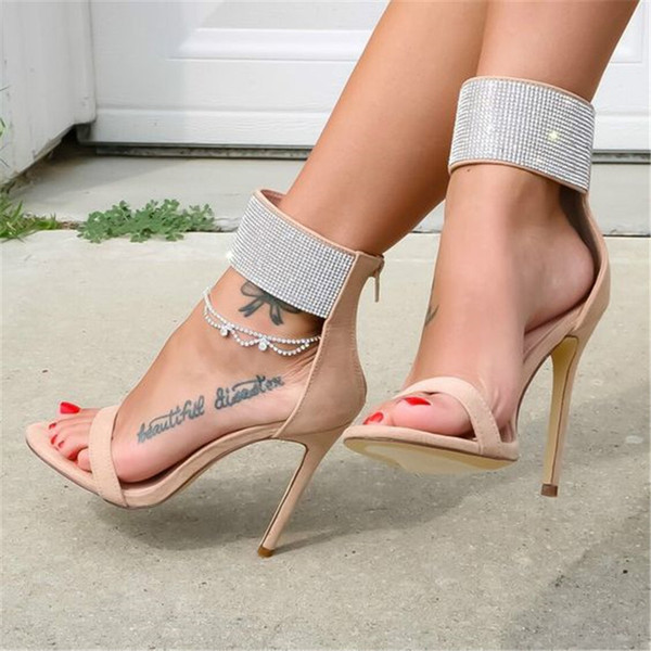 Women Shoes Sexy Wedding Party Dress Sandals Nude Red Rhinestone Embellished Stiletto Heel Ankle Wrap Open Toe With Zipper