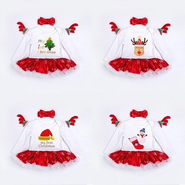 New Girls Robe de Noël avec Hairband Romper Jupe en coton bordure en dentelle arbre chaussettes cerf imprimé 0-24M manches longues